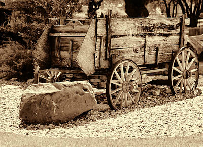 Sepia Antique Wagon From Austin Tx. Art Print by Linda Phelps