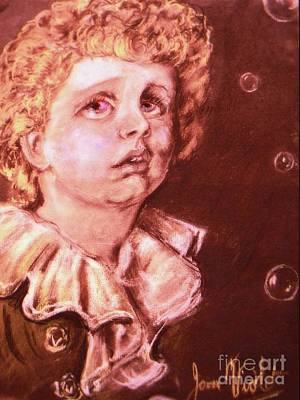 Mixed Media - Sepia Bubbles Portrait by Joan-Violet Stretch