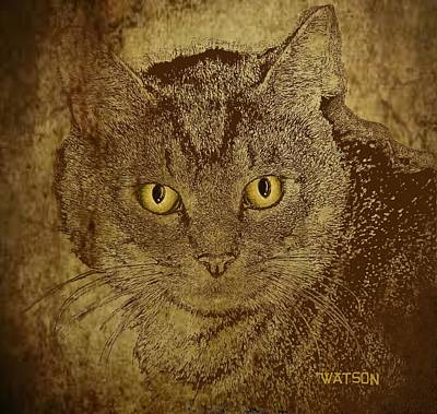 Digital Art - Sepia Cat by Marlene Watson