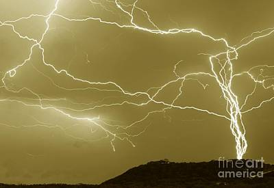 Medina Lake Photograph - Sepia Converging Lightning by Michael Tidwell