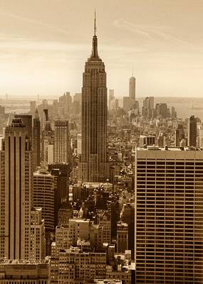 Photograph - Sepia Empire State Building New York City by Dan Sproul