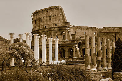 Sepia Image Of Columns Of The Forum Art Print