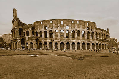 Sepia Image Of The Colosseum Or Roman Art Print