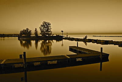 Curated Weekender Tote Bags - Sepia Lakefront by Frozen in Time Fine Art Photography