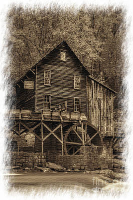 Photograph - Sepia Of Grist Mill At Babcock State Park by Dan Friend