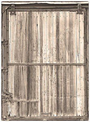 Photograph - Sepia Old Classic Colorado Railroad Car Door by James BO  Insogna