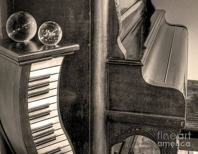 Photograph - Sepia Piano And Orbs by Chris Anderson