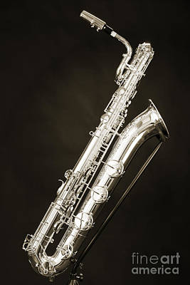 Saxophone Photograph - Sepia Picture Of A Baritone Saxophone Photograph 3463.01 by M K  Miller