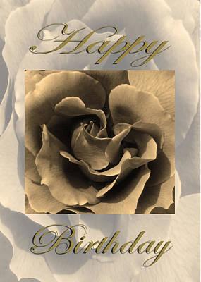 Martinspixs Photograph - Sepia Rose Happy Birthday  by Martin Matthews