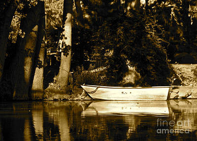 Sepia Rowboat Art Print