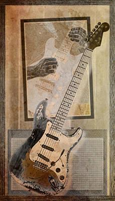 Digital Art - Sepia Strat by WB Johnston