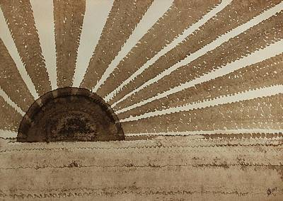 Sepia Sunset Original Painting Art Print