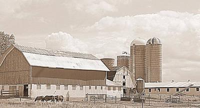 Soil Digital Art - Sepia Tone Large Grant Farm And Barns by Rosemarie E Seppala