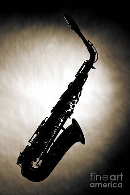 Photograph - Sepia Tone Silhouette Of A Alto Saxophone 3357.01 by M K Miller
