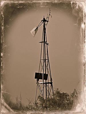 Sepia Windmill Art Print by Mikki Cromer