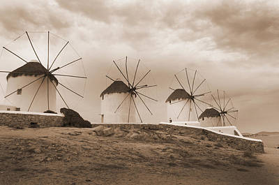 Photograph - Sepia Windmills  by Brenda Kean