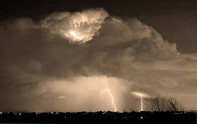 Photograph - Sepiathunderstorm Boulder County Colorado   by James BO Insogna