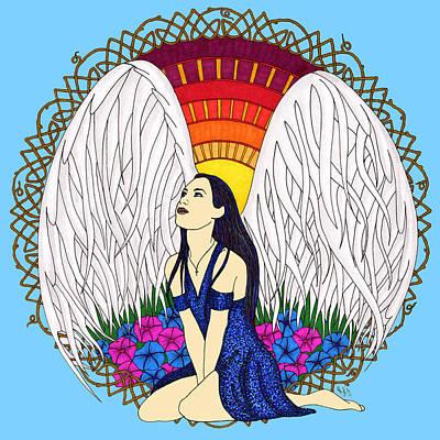 Celtic Cross Drawing - September Angel by Rebecca Jayne