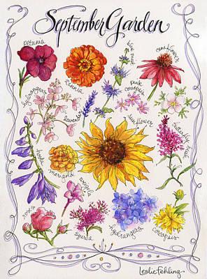 Zinnia Painting - September Garden by Leslie Fehling