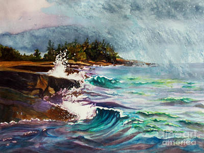 Wind Surfing Painting - September Storm Lake Superior by Kathy Braud