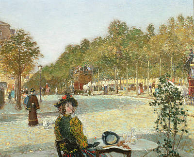 French Cafe Painting - September Sunlight, Paris by Childe Hassam
