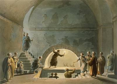 Staff Drawing - Sepulchral Chamber, Near Bethany by Luigi Mayer