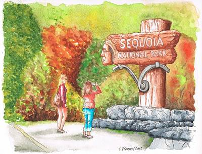 Sequoia Painting - Sequoia National Park Entrance - California by Carlos G Groppa