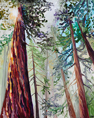 Giant Sequoia Painting - Sequoias In The Sun by Cedar Lee