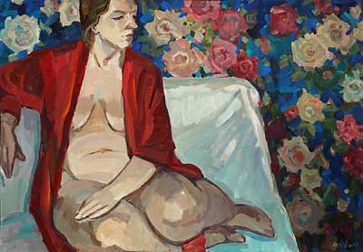 Painting - Serafima In The Flowers by Juliya Zhukova