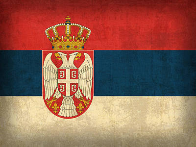 Serbia Mixed Media - Serbia Flag Vintage Distressed Finish by Design Turnpike