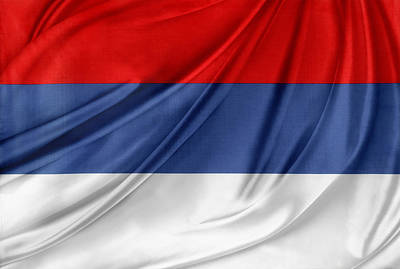 Serbian Flag Print by Les Cunliffe