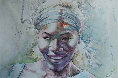 Australian Open Painting - Serena Williams - Portrait 1 by Baresh Kebar - Kibar