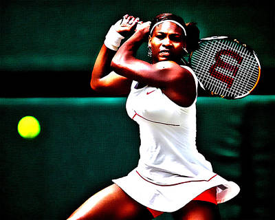 Emerson Digital Art - Serena Williams 3a by Brian Reaves