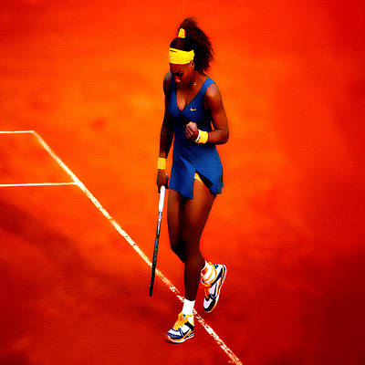 Wta Digital Art - Serena Williams 4a by Brian Reaves