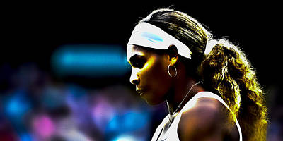 Serena Williams Digital Art - Serena Williams Focus by Brian Reaves