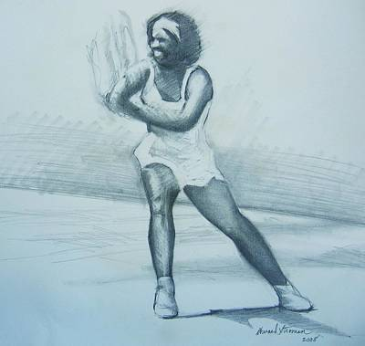 Wimbleton Drawing - Serena Williams by Howard Stroman