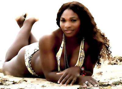 African-american Digital Art - Serena Williams In The Sand by Brian Reaves