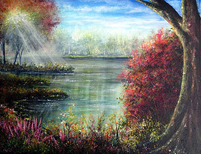 Deer Painting - Serene Waters by Ann Marie Bone