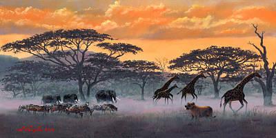 Zebra In Painting - Serengeti At Sunset by Sidney Vaughn