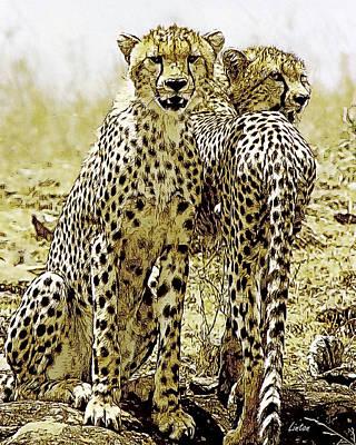 Cheetah Digital Art - Serengeti Cheetahs 2 by Larry Linton