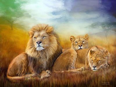 African Lion Art Mixed Media - Serengeti Pride by Carol Cavalaris