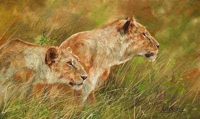 Sisters Painting - Serengeti Sisters by David Stribbling