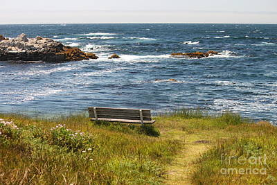 Seascape Photograph - Serenity Bench by Bev Conover