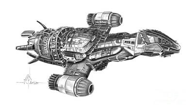 Murphy Drawing - Serenity Firefly Class by Murphy Elliott