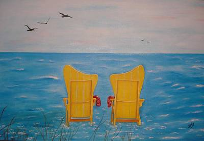 Flying Seagull Painting - Serenity by Judy Jones