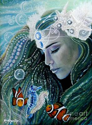 Mermaid Painting - Serenity by Michaeline McDonald