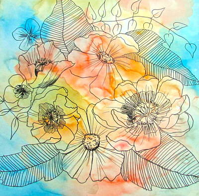 Red Poppies Drawing - Serenity by Natalie Beck