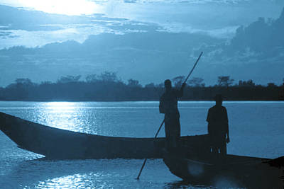 Serenity Of The Nature In Congo 2 Boat Men Calling It A Day At The Sunset Who Knew It Could Be So Pe Original by Navin Joshi