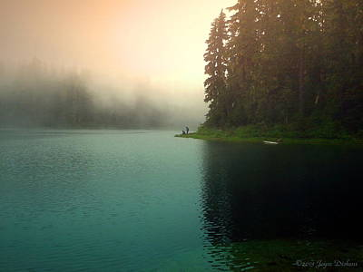 Serenity On Blue Lake Foggy Afternoon Art Print