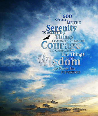 Strength Painting - Serenity Prayer 3 - By Sharon Cummings by Sharon Cummings